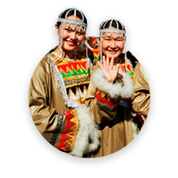 Two people wearing traditional clothes