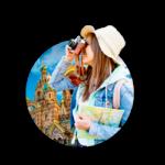 A lady with binocular sightseeing
