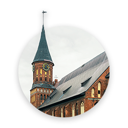 A gothic cathedral in Kaliningrad made of red brick