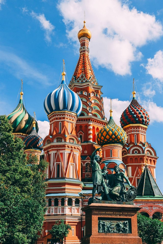 An Orthodox church in Red Square in Moscow, cultural symbol of Russia. The cathedral with nine colorful domes shaped like the flame of a bonfire rising into the sky. Church from a fairytale. Monument in front of the cathedral