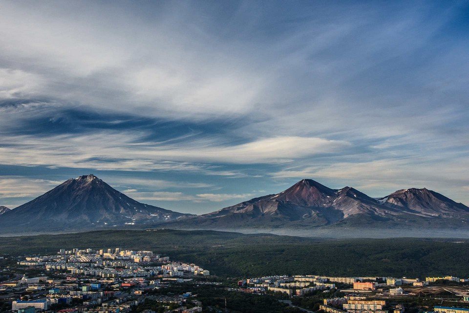 Russian city at the bottom of a volcano