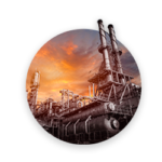 Oil refinery on the sunset background