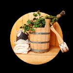 Things for sauna: wooden barrel, hat, towel