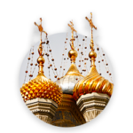 Gilded onion domes with crosses of an orthodox church