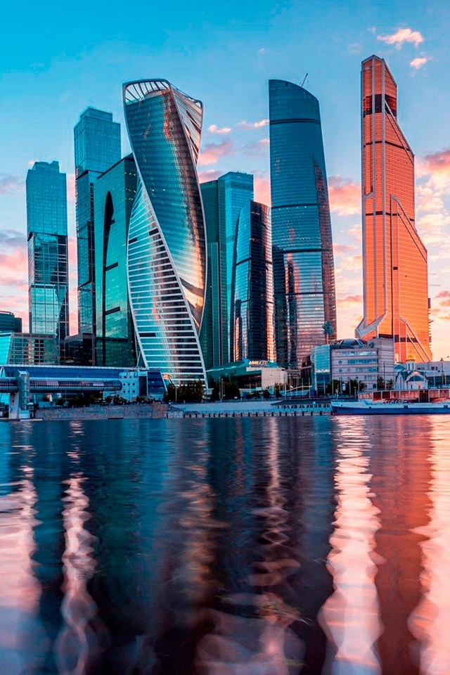 The Moscow river and modern skyscraper complex, business center inside, The Federation Tower, Imperia Tower, Evolution Tower, Mercury City Tower.