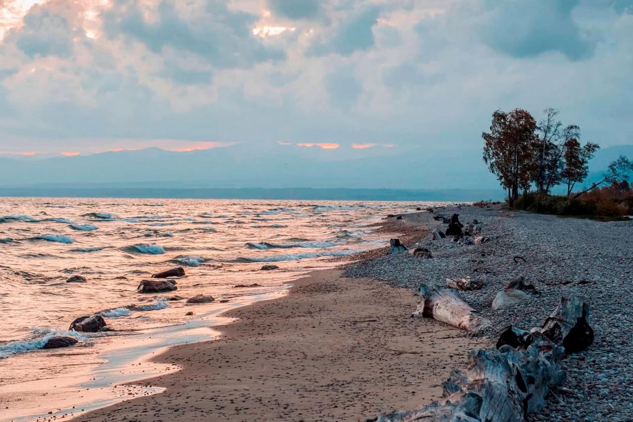 A sandy shore of lake Baikal