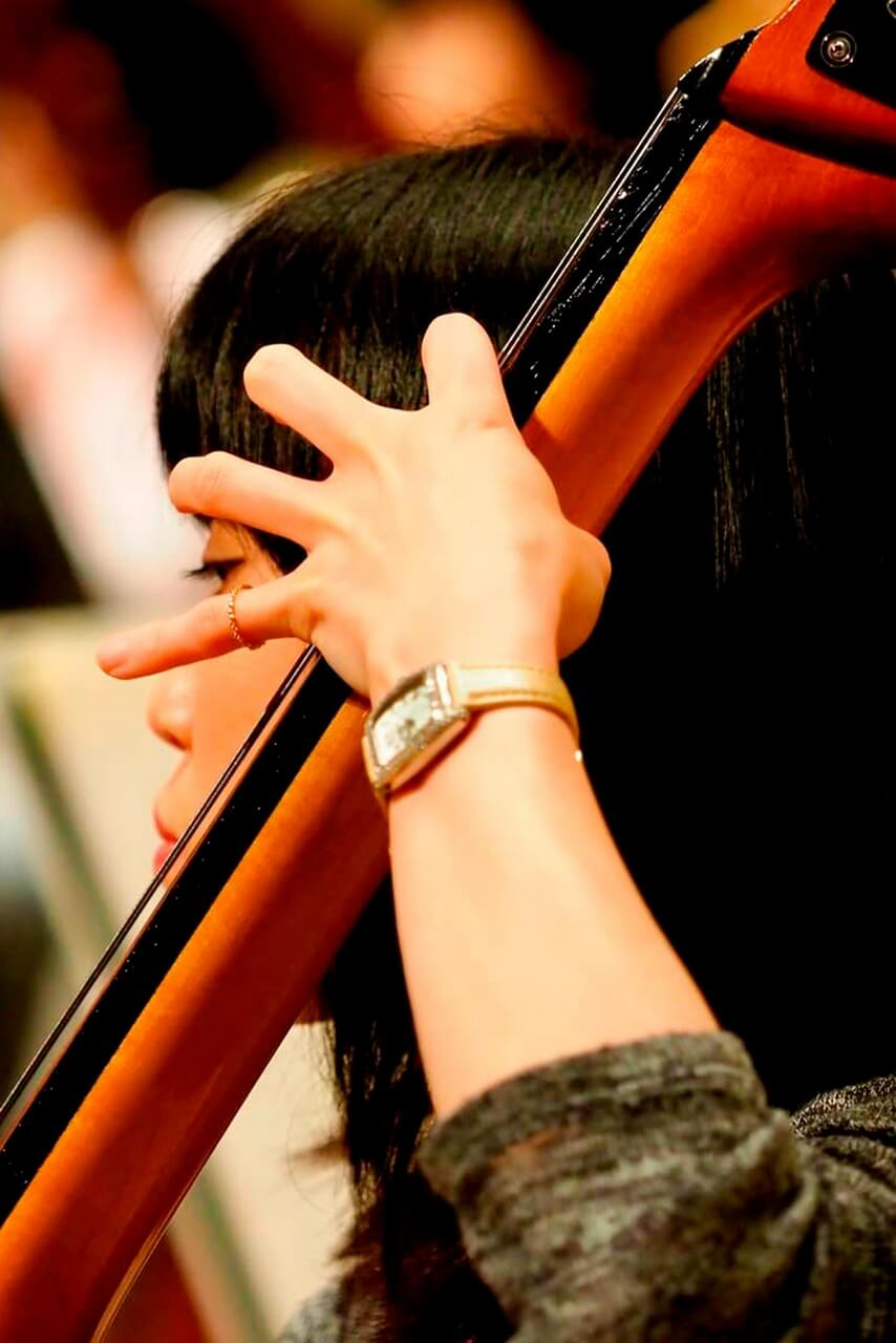 Orchestra: a woman playing a cello and a trumpet behind her