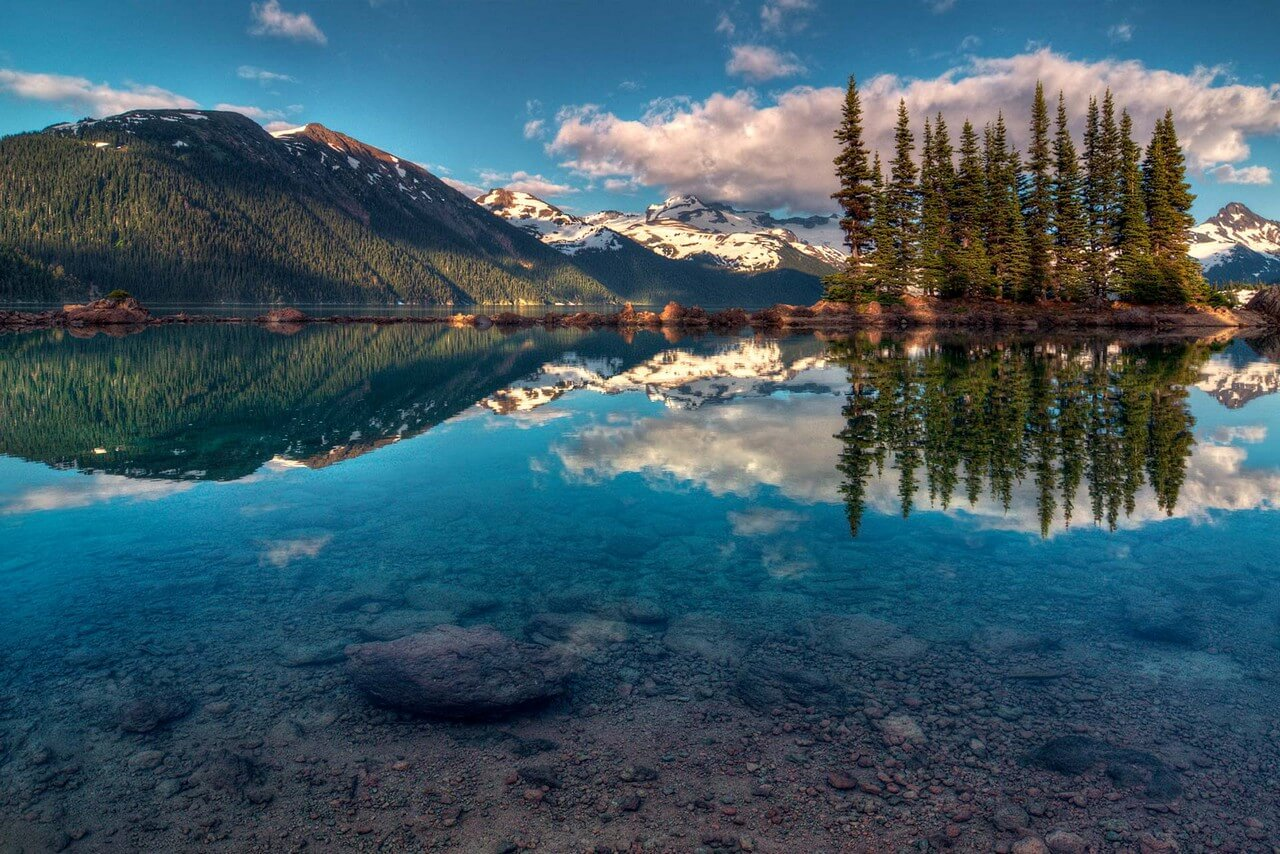 Beautiful landscape, transparent lake, rocky shore and trees