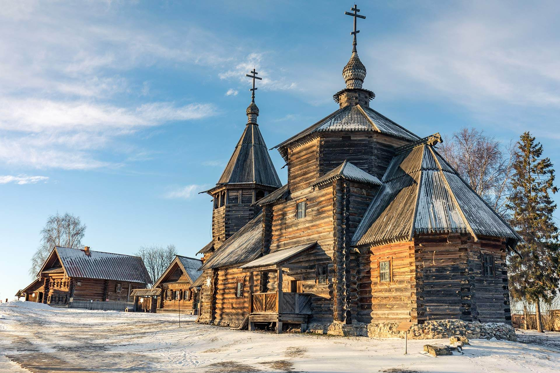 The wooden orthodox church construction