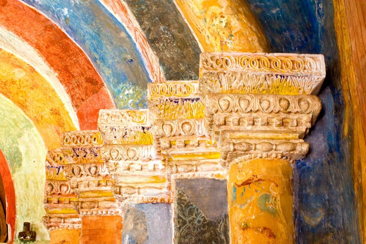 Wall paintings in the Orthodox church in the fresco technique.