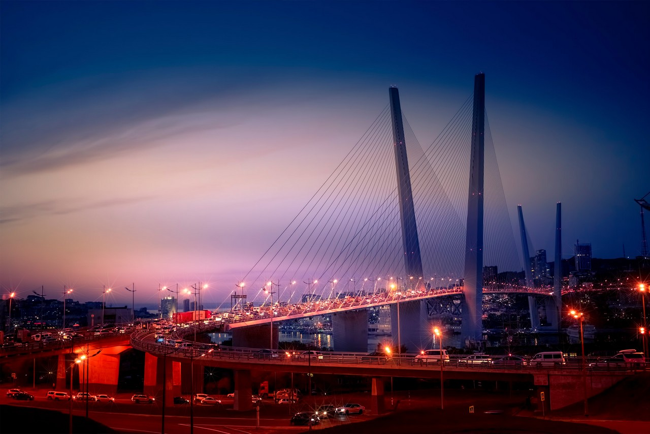 A cable-stayed bridge at night
