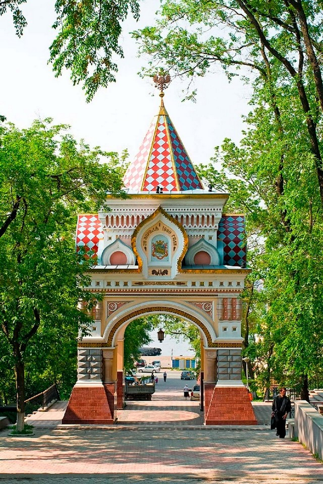 The Colourful Arch or Triumphal Gates built in the Russian-Byzantine style