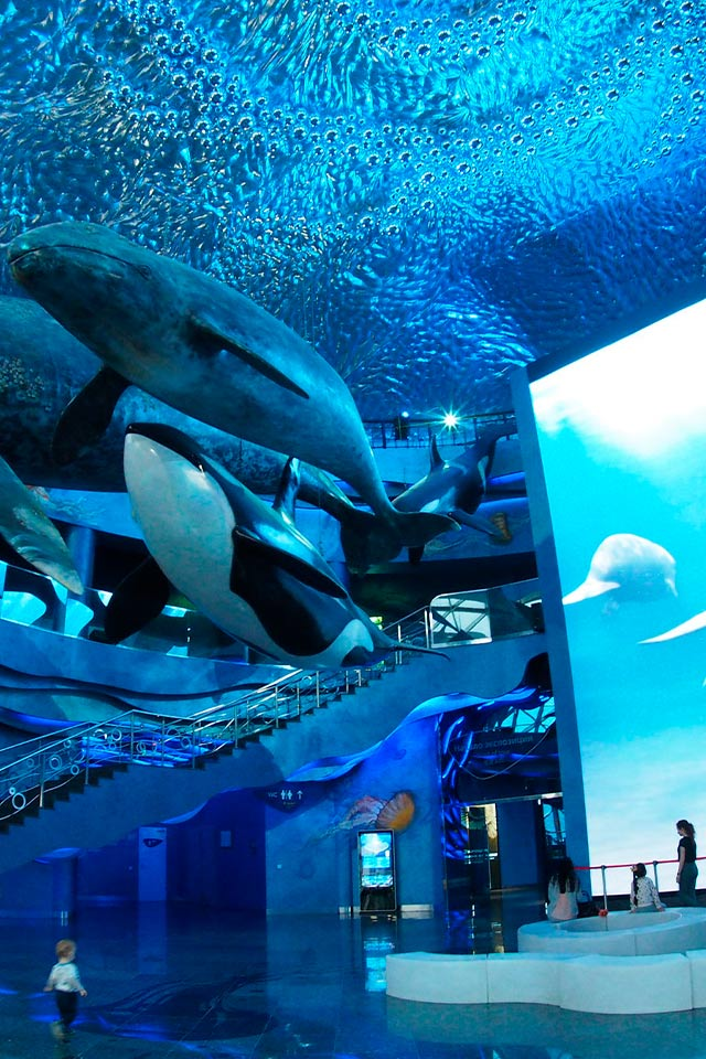 A large room with a giant aquarium and giant whales on the ceiling