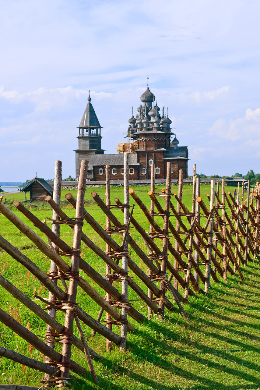 The wooden architectural ensemble consisting of 22 domed Church, a bell tower and a wooden fence. The object of the UNESCO World Heritage