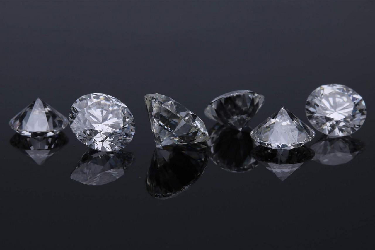 Cut diamonds against the black backdrop