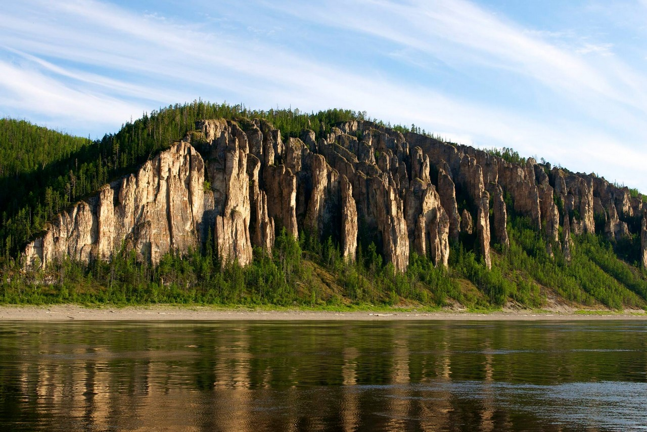 Rocks on the bank of the Lena river naturally formed in shape of pillars