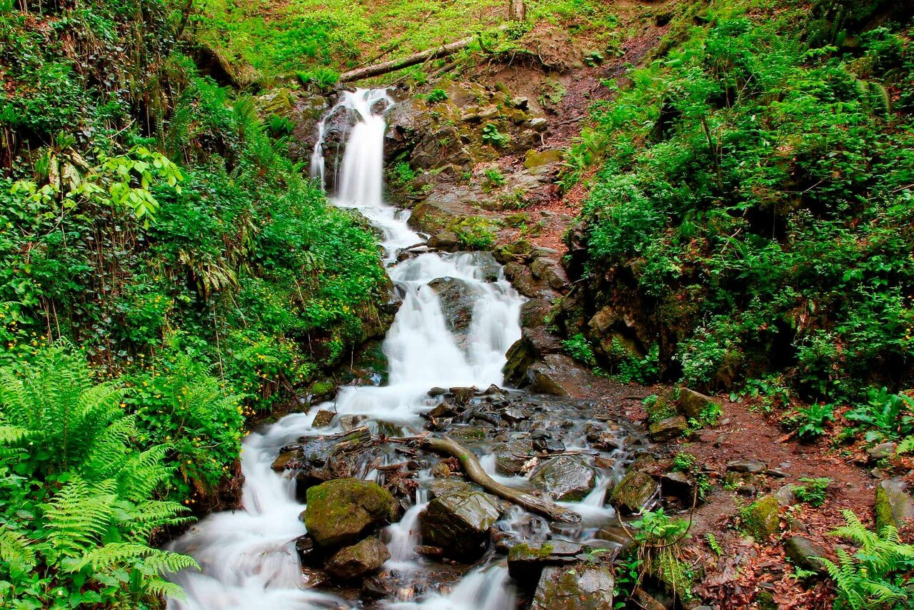 A waterfall in the Caucasus mountains in spring