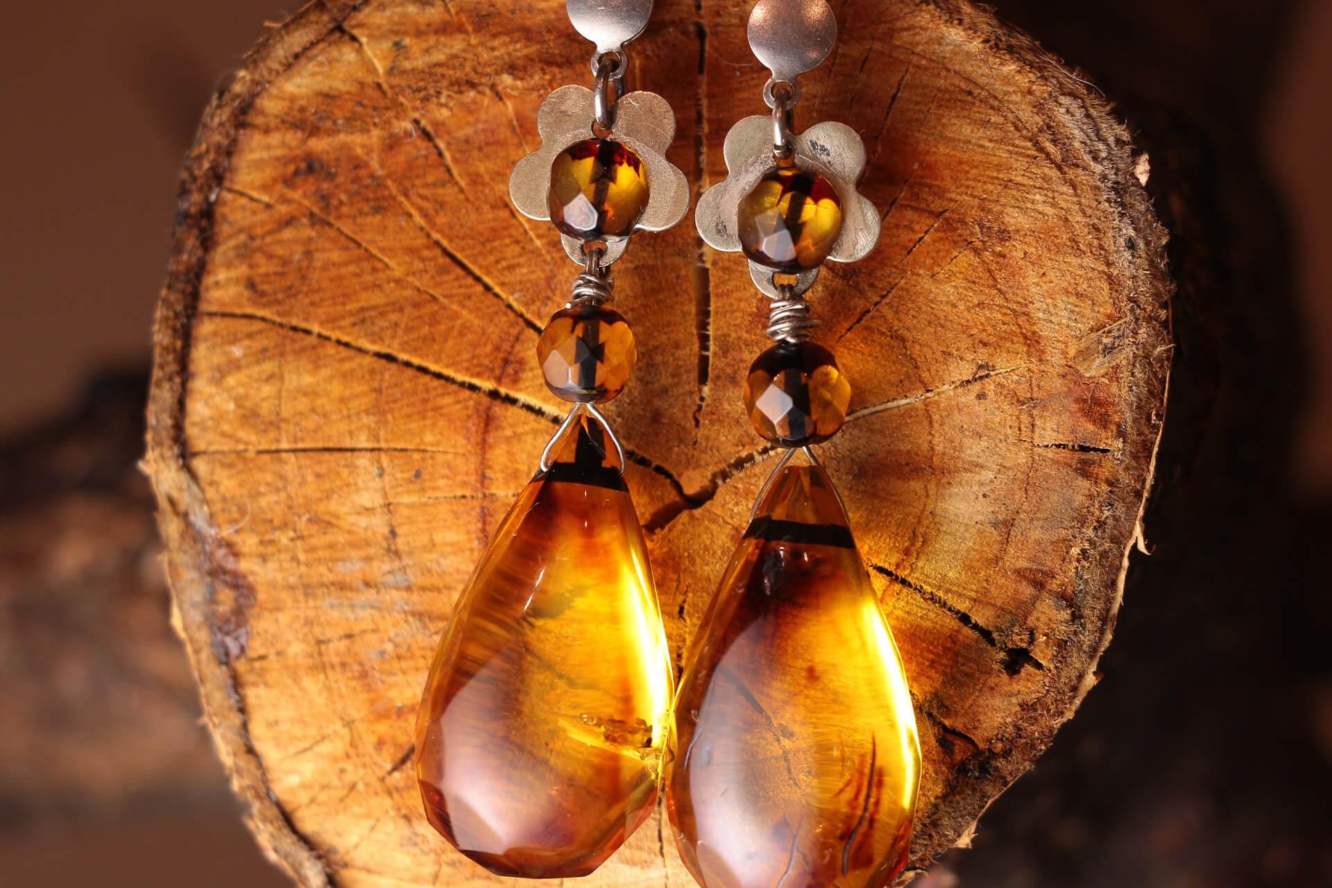 A pair of amber earrings
