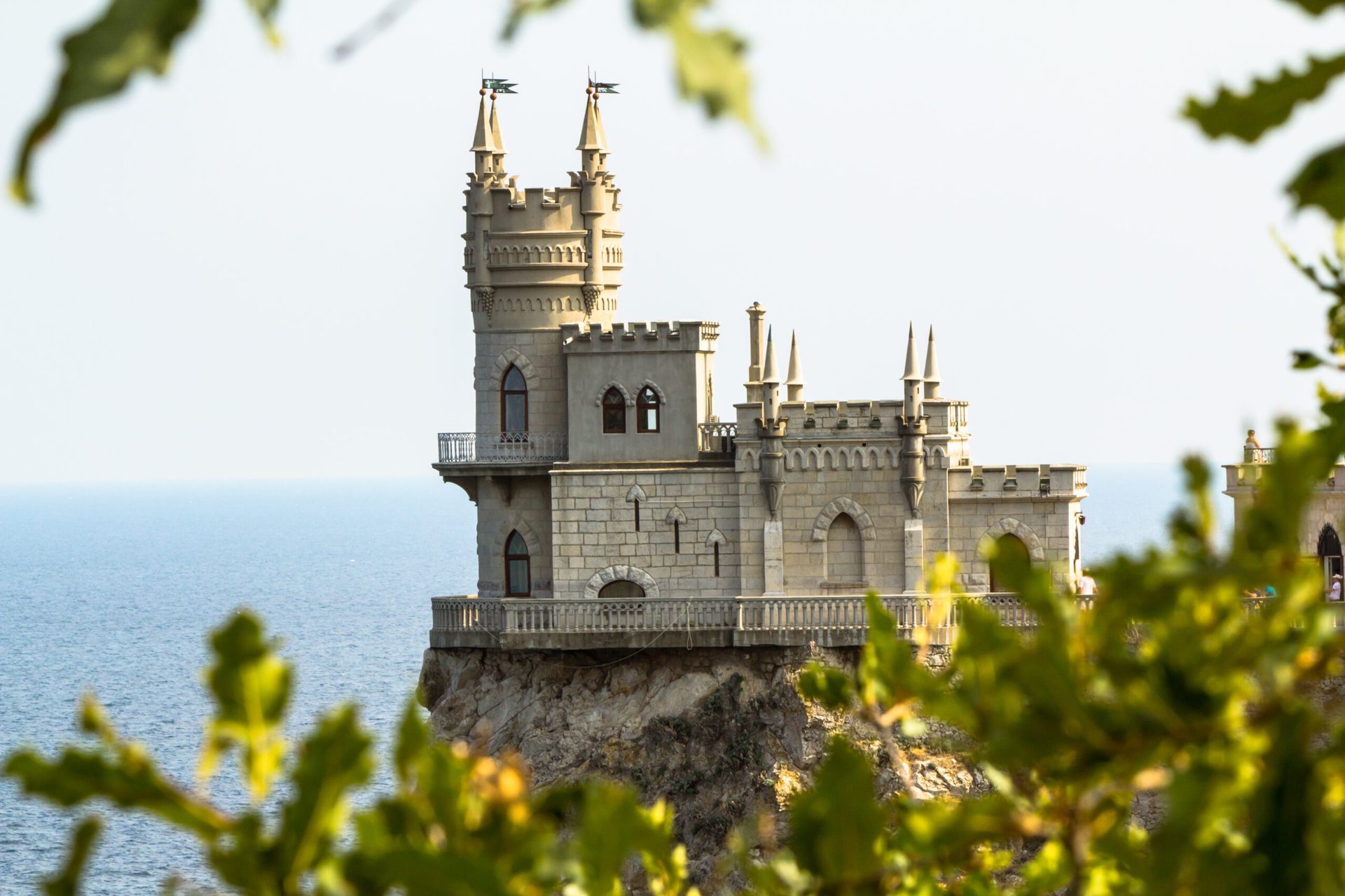 A beautiful castle on the top of a cliff over the sea