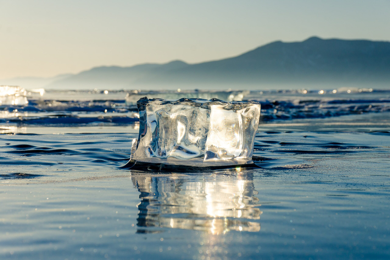 An ice cube on the lake