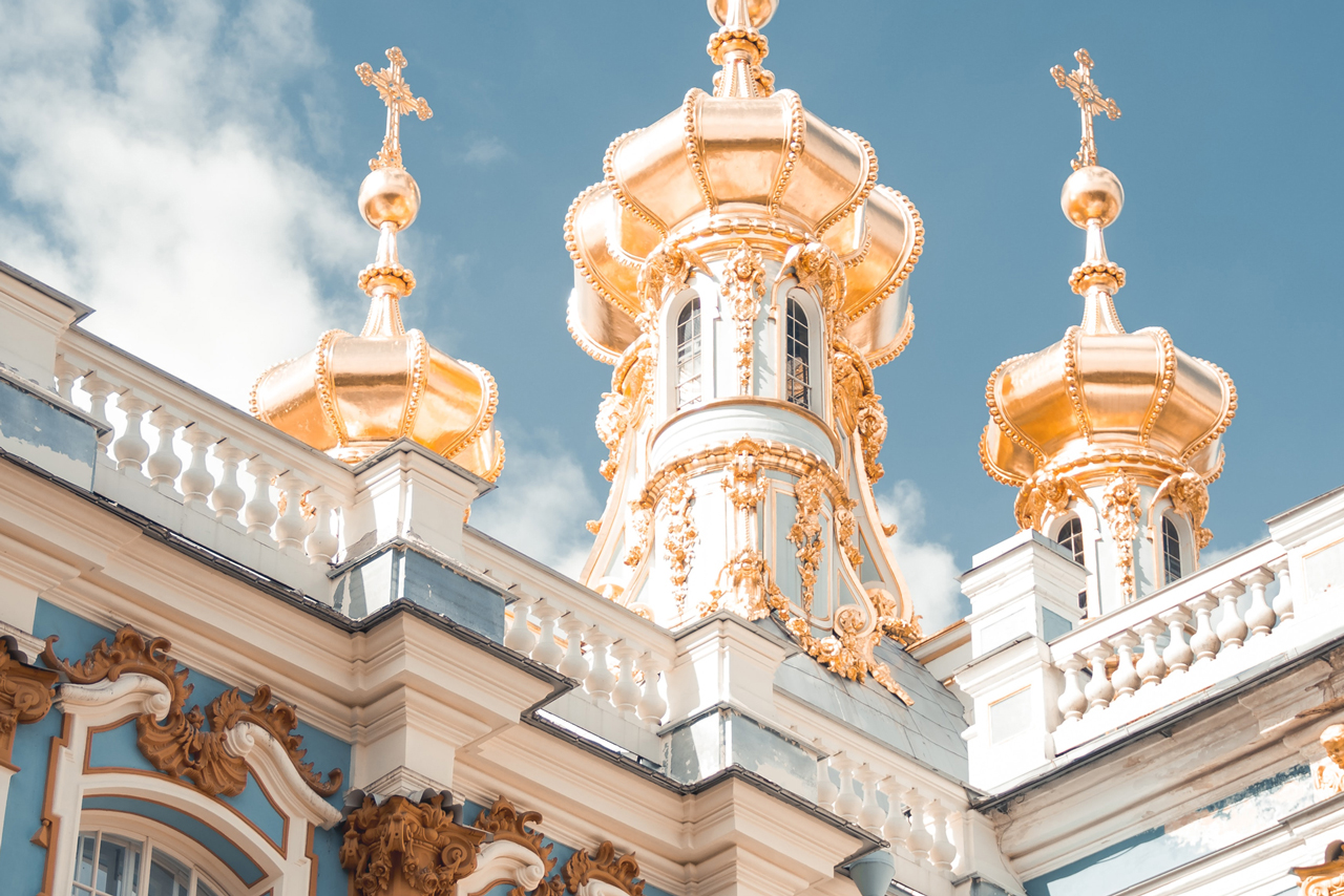 A family chapel of a royal palace with shiny gilded domes