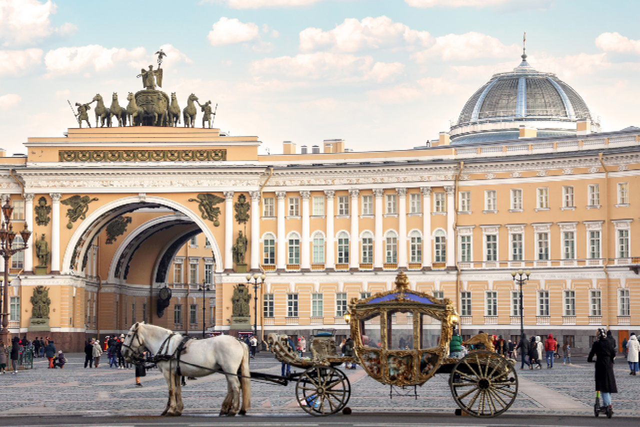 Yellow and white building with a 580 m long bow-shaped façade. It consists of two wings, which are separated by a tripartite triumphal arch adorned by sculpture, monumental Neoclassical building in the Empire style. Vintage horse carriage in front of the palace.