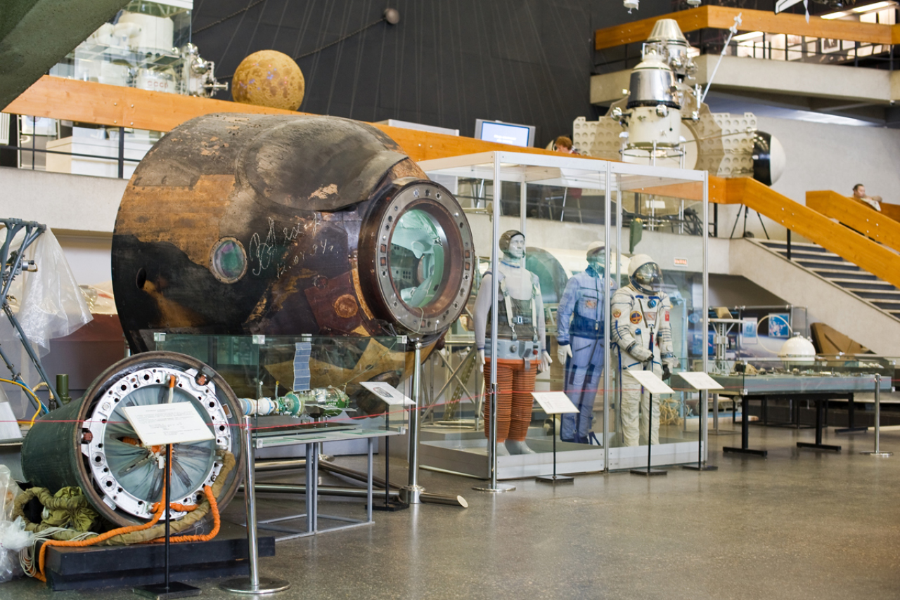 Exposition of a Soviet cosmonautics museum, costumes and other equipment of Soviet cosmonauts